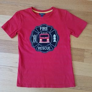 CR Sports Boys Embroidered Fire Rescue Tee Shirt